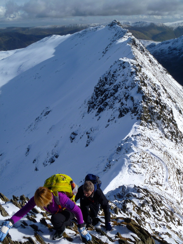 Striding Edge, winter ascent