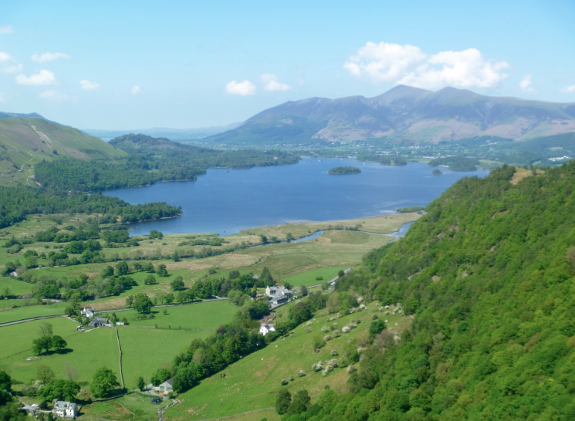 Derwent Water and Skiddaw seen during a guided rock climbing day