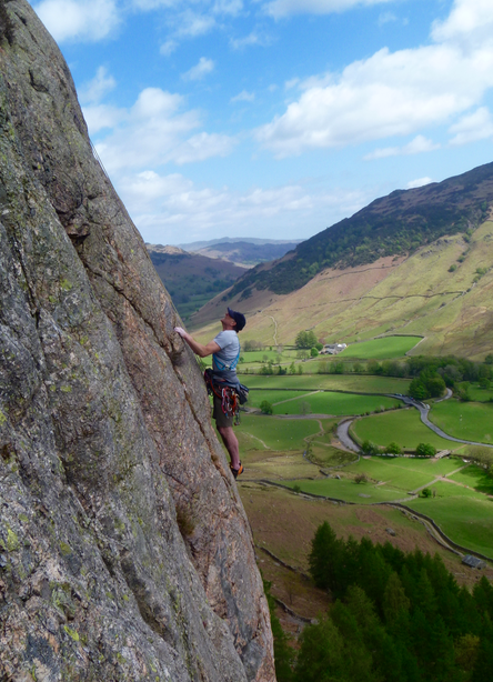Hard rock climbing routes in the Lake District