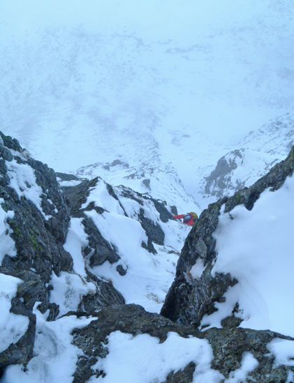 Winter climbing on Parallel gullies rib, Brown Cove Crag