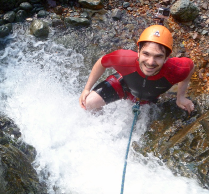 Waterfall-climbing-whilst-gorge-scrambling-in-the-Lake-District