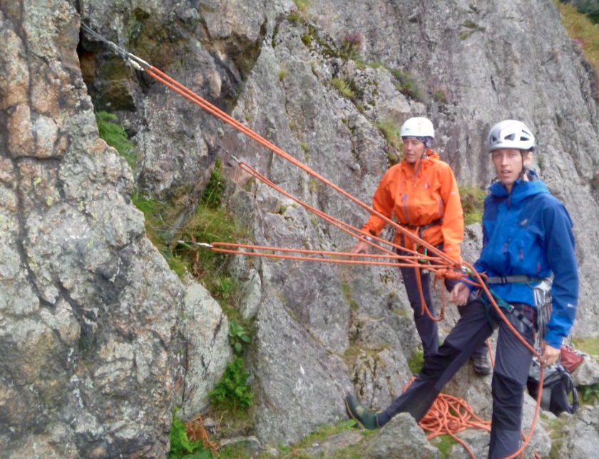 Equalising belay anchors at Raven crag, Langdale