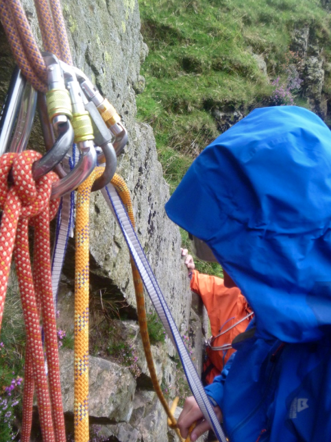 Setting up an abseil, Middlefell Buttress, Langdale
